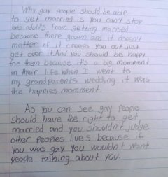 "fourth grader s essay on gay marriage ""just get over it"" bg com  fourth grader s essay on gay marriage ""just get over it"" bg2 com put yo face right here"